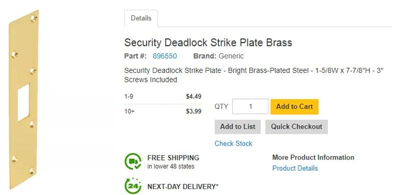 Door Strike Plate Security