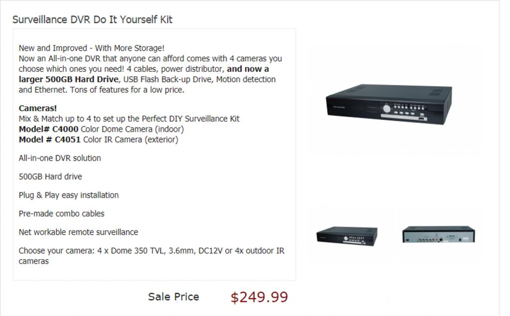 Surveillance DVR Do It Yourself Kit